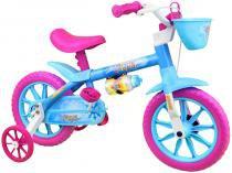 Bicicleta Infantil Aro 12 Nathor Aqua Azul - com Rodinhas com Cesta