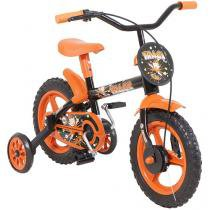 Bicicleta Infantil Aro 12 Track  Bikes - Arco Iris PO Preto e Laranja com Rodinhas
