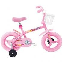 Bicicleta Infantil Aro 12 Verden Fofys Rosa - Com Rodinhas com Cesta