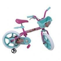Bicicleta Infantil Aro 14 Bandeirante Disney - Elena de Avalor Pink e Verde c/ Rodinhas c/ Cesta