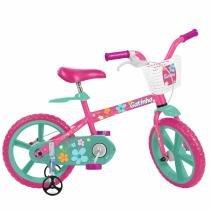 Bicicleta Infantil Aro 14 Gatinha Rosa E Verde Bandeirante - Bandeirante