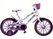 Bicicleta Infantil Aro 16 Caloi Amorinha Branco e - Roxo Com Rodinhas Com Cesta Freio V-brake