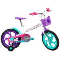 """Bicicleta Infantil Aro 16"""" Caloi Ceci 1 Marcha  - Branco com Rodinhas Freio V-Brake"""