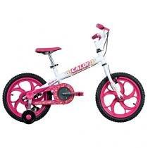 Bicicleta Infantil Aro 16 Caloi Ceci Branco e Rosa - com Rodinhas