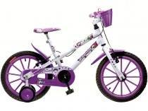 Bicicleta Infantil Aro 16 Colli Amorinha Branco e  Roxo Com Rodinhas Com Cesta Freio V-brake