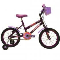 Bicicleta Infantil Aro 16 com Cestinha Fadinha Roxa - Cairu - Cairu