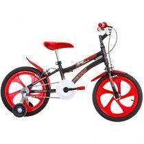 Bicicleta Infantil Aro 16 Houston Nic 1 Marcha - Preto e Vermelho com Rodinhas