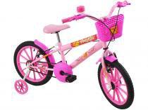 Bicicleta Infantil Aro 16 Polimet Polikids - Magic Girl com Rodinhas com Cesta Freio V-Brake