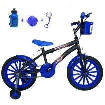 6e8e9b363 Bicicleta Infantil Aro 16 Preta Kit Azul C  Acessórios - Flexbikes