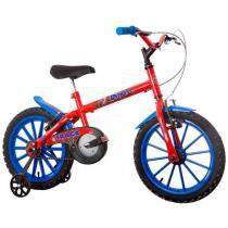 Bicicleta Infantil Aro 16 Track  Bikes Dino - Vermelha com Rodinhas Freio V-Brake