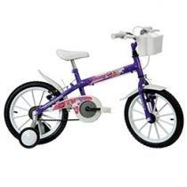 Bicicleta Infantil Aro 16 Track & Bikes Monny LM - Lilás Metálico com Rodinhas com Cesta