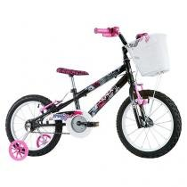 Bicicleta Infantil Aro 16 Track & Bikes Track Girl - Preto com Rodinhas com Cesta Freio V-Brake