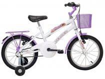 Bicicleta Infantil Aro 16 Verden Breeze Branco e  - Lilás com Rodinhas com Cesta Freio V-Brake