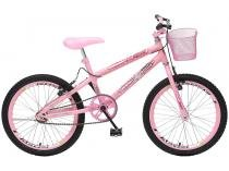 Bicicleta Infantil Aro 20 Colli Bike July Rosa - com Cesta Freio V-Brake