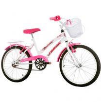 Bicicleta Infantil Aro 20 Track  Bikes Marbela - Branco e Rosa com Cesta Freio V-Brake