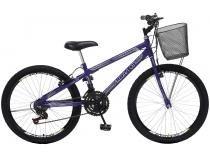Bicicleta Infantil Aro 24 Colli Bike Allegra City - 21 Marchas Violeta com Cesta Freio V-break