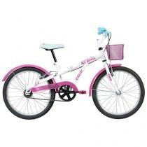 Bicicleta Infantil Barbie Aro 20 Caloi Branco - com Cesta Freio V-Brake
