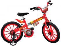 Bicicleta Infantil Cars Disney Aro 16 Bandeirante - com Rodinhas