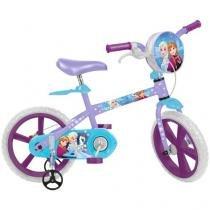 Bicicleta Infantil Disney Frozen Aro 14 - Bandeirante Lilás com Rodinhas