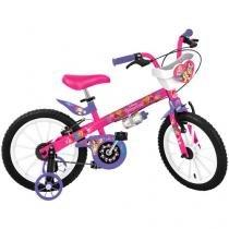Bicicleta Infantil Disney Princesa Aro 16 - Bandeirante Pink com Rodinhas V-brake