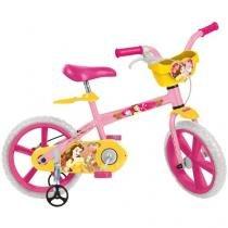 Bicicleta Infantil Disney Princesa Bela Aro 14 - Bandeirante 1 Marcha Rosa com Rodinhas