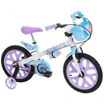 Bicicleta Infantil Frozen Aro 16 Bandeirante  - Disney Branca e Lilás com Rodinhas com Cesta