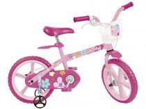 Bicicleta Infantil Gatinha Aro 14 - Bandeirante 1 Marcha Rosa com Rodinhas