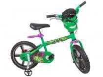 Bicicleta Infantil Hulk Aro 14 Bandeirante Marvel - Avengers Verde c/ Rodinhas Carenagem Personalizada
