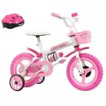 Bicicleta Infantil Kit Kat Aro 12 com Capacete Branco/Rosa - Track Bikes - Track Bikes