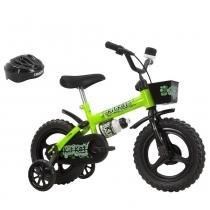 Bicicleta Infantil Kit Kat Aro 12 com Capacete Preto/Verde Neon - Track Bikes - Track Bikes