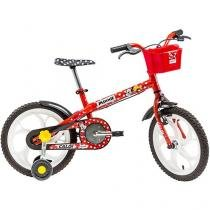 Bicicleta Infantil Minnie Aro 16 Caloi Vermelho - Com Rodinhas com Cesta