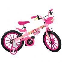 Bicicleta Infantil Princesas Aro 16 Bandeirante - Disney Rosa Com Rodinhas Freio V-brake