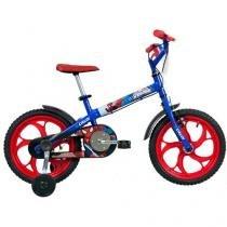 Bicicleta Infantil Spider Man Aro 16 Caloi Azul - com Rodinhas
