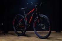 Bicicleta mtb aro 29 freio a disco ox bike 21v shimano preto/vermelho  tam. 19 -