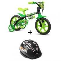 Bicicleta Nathor Black Aro 12 Infantil Com Capacete - Nathor