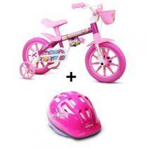 Bicicleta Nathor Flower Aro 12 Infantil Com Capacete -