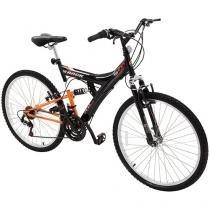 Bicicleta Track & Bikes TB 100 PO Aro 26 - 18 Marchas Dupla Suspensão Freio V-brake