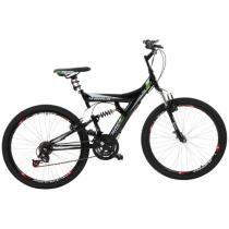 Bicicleta Track & Bikes TB 300 Aro 26 18 Marchas - Dupla Suspensão Quadro de Aço Freio V-Brake