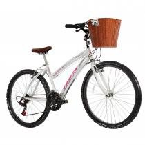 Bicicleta Week 200 Plus Alumínio 21V Cesta Vime Branco - Track Bikes - Branco - Track  Bikes