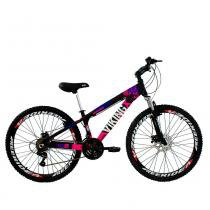 Bicicleta X TUFF25 Freeride Aro 26 Preto Rosa 21V - Viking -