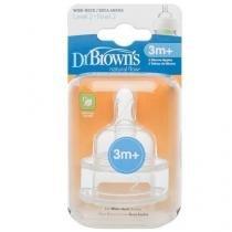 Bicos de silicone options fluxo medio fase 2 3m+dr. browns d372b - 2 unidades - Dr browns