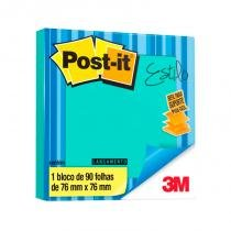 Bloco Adesivo Post-it 3M POP-UP 76x76mm Azul Aqua -