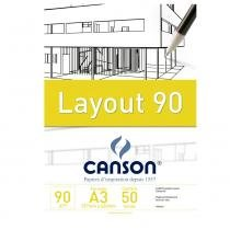 Bloco canson layout  90g/m² a3 297 x 420 mm com 20 folhas  66667034 -