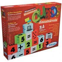 Bloco de Montar 24 Peças Cubos Encaixáveis - Números e Quantidades Xalingo