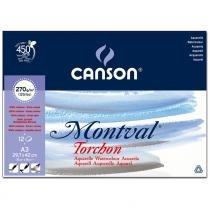 Bloco de Papel Aquarela Canson - Montval Torchon 270g/m² A3 29,7x42 cm com 12 Folhas 60807325 -