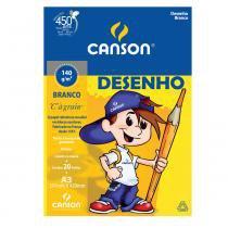 """Bloco Desenho Branco C""""A grain"""" Canson Linha Infantil 140 g/m² A3 297 x 420 mm com 20 Folhas - 66667071 -"""