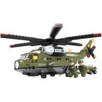 Blocos de Montar 452 Peças Bee Blocks - Helicóptero de Ataque - Exército - Bee Me Toys