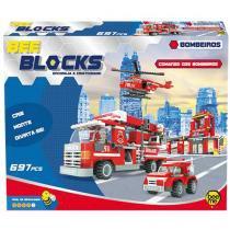 Blocos de Montar 697 Peças Bee Blocks - Comando dos Bombeiros 1953 Bee Me Toys