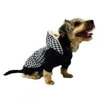 Blusa Futon Dog Tricot com Capuz Pele de Alpaca Houndstooth Preto - Futon Dog