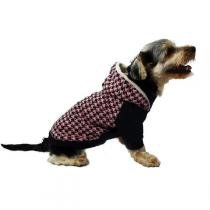 Blusa Futon Dog Tricot com Capuz Pele de Alpaca Houndstooth Rosa - Futon Dog